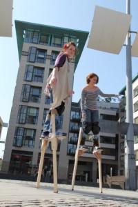 Stilt walking classes in ireland with Artastic, stilts street performers